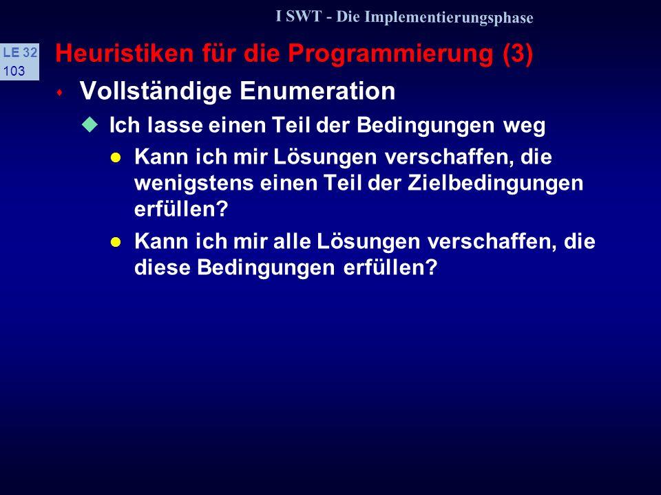 I SWT - Die Implementierungsphase LE 32 102 Heuristiken für die Programmierung (2) s Variation Komme ich durch eine Veränderung der Problemstellung de