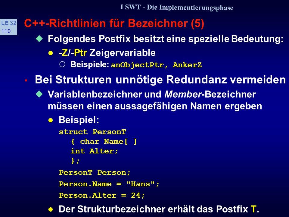 I SWT - Die Implementierungsphase LE 32 109 C++-Richtlinien für Bezeichner (4) Wenn Operation nur Instanzvariable liest oder schreibt Namen soll mit G