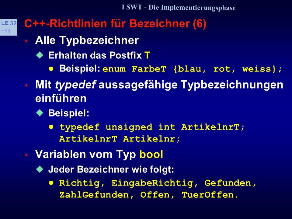 I SWT - Die Implementierungsphase LE 32 110 C++-Richtlinien für Bezeichner (5) Folgendes Postfix besitzt eine spezielle Bedeutung: -Z/-Ptr Zeigervariable Beispiele: anObjectPtr, AnkerZ s Bei Strukturen unnötige Redundanz vermeiden Variablenbezeichner und Member-Bezeichner müssen einen aussagefähigen Namen ergeben Beispiel: struct PersonT { char Name[ ] int Alter; }; PersonT Person; Person.Name = Hans ; Person.Alter = 24; Der Strukturbezeichner erhält das Postfix T.