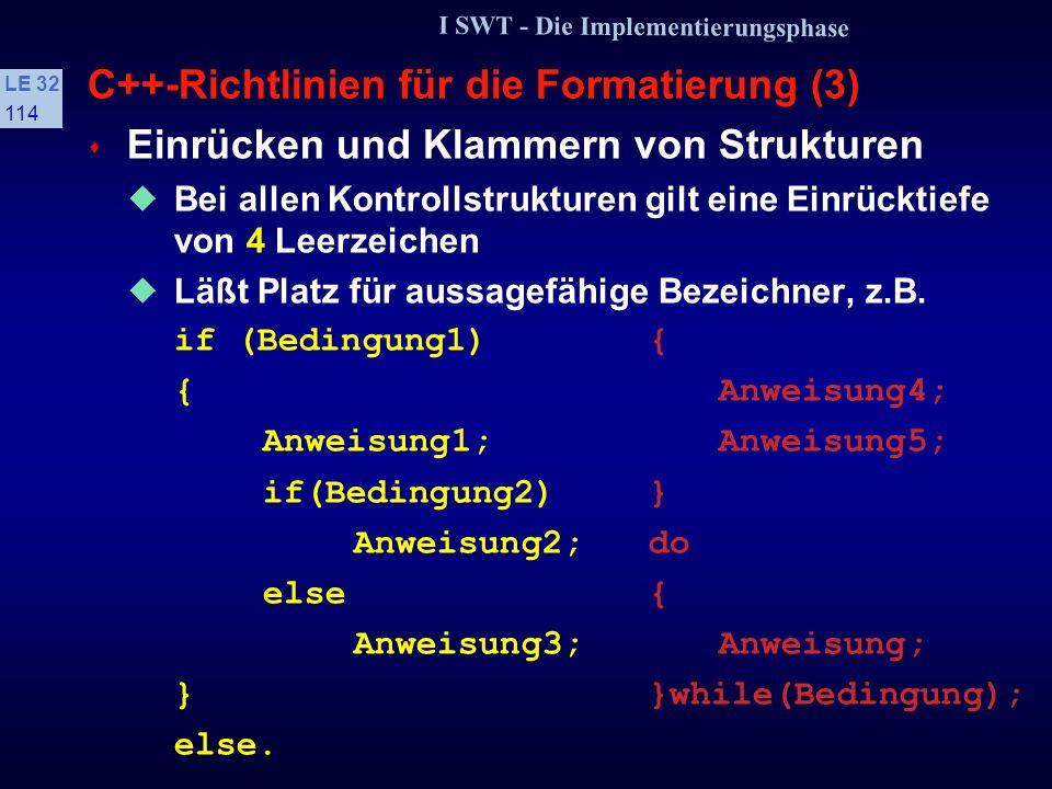 I SWT - Die Implementierungsphase LE 32 113 C++-Richtlinien für die Formatierung (2) s Leerzeilen Leerzeilen sollen Blöcke von logisch zusammenhängenden Anweisungen trennen Der Deklarationsteil soll stets durch eine Leerzeile von den Anweisungen getrennt werden Jeder Funktionsdeklaration soll eine Leerzeile vorausgehen Umfangreiche Kontrollstrukturen sind durch eine Leerzeile zu trennen Umfangreiche Deklarationen sind durch eine Leerzeile zu trennen.