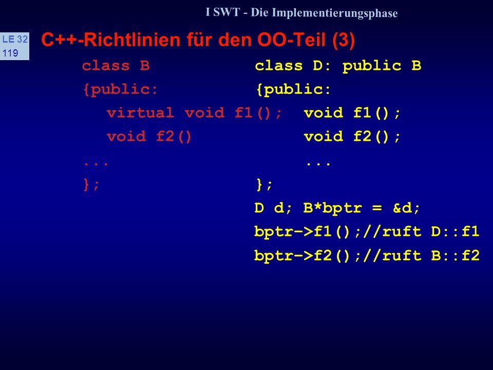 I SWT - Die Implementierungsphase LE 32 118 C++-Richtlinien für den OO-Teil (2) s Inline-Funktionen Verletzen das Geheimnisprinzip, daher nur bei erheblichen Leistungsverbesserungen verwenden extern inline-Funktionen bieten die gleichen Vorteile, bewahren aber das Geheimnisprinzip s Virtuelle Funktionen Operationen einer Klasse, die in einer Unterklasse detailliert werden, sind grundsätzlich als virtuell zu vereinbaren Dann ist sichergestellt, daß immer die Operation der Unterklasse aufgerufen wird, auch wenn der Zugriff über einen Zeiger der Oberklasse erfolgt ist Beispiel:.