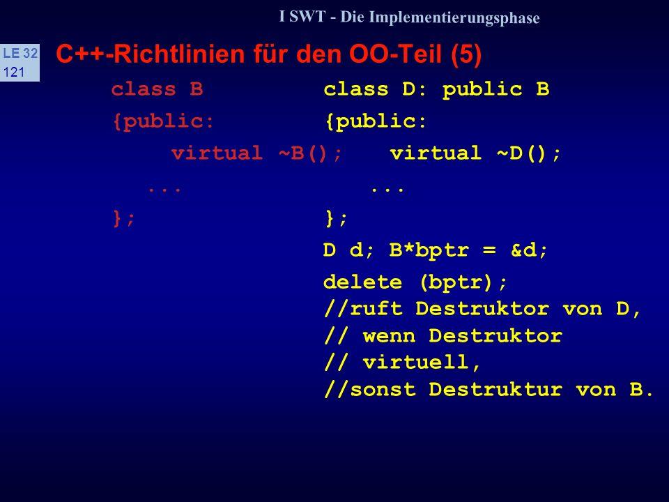I SWT - Die Implementierungsphase LE 32 120 C++-Richtlinien für den OO-Teil (4) s Konstruktoren Ein Default-Konstruktor ist ein Konstruktor, der ohne Argumente aufgerufen werden kann, z.B.