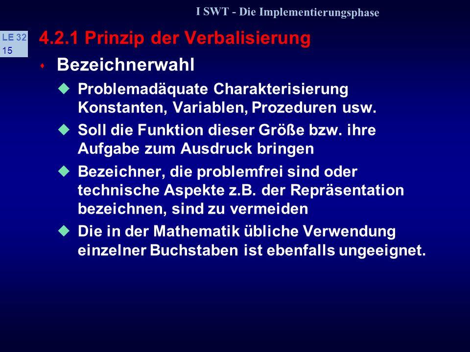 I SWT - Die Implementierungsphase LE 32 14 4.2.1 Prinzip der Verbalisierung s Verbalisierung Gedanken und Vorstellungen in Worten ausdrücken und damit