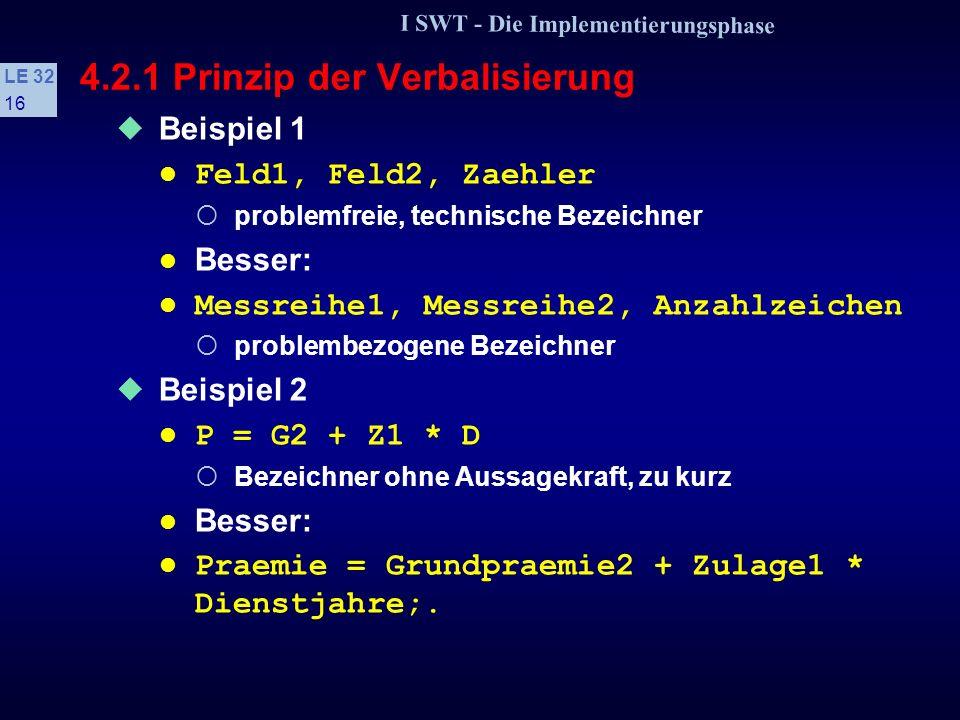 I SWT - Die Implementierungsphase LE 32 15 4.2.1 Prinzip der Verbalisierung s Bezeichnerwahl Problemadäquate Charakterisierung Konstanten, Variablen, Prozeduren usw.