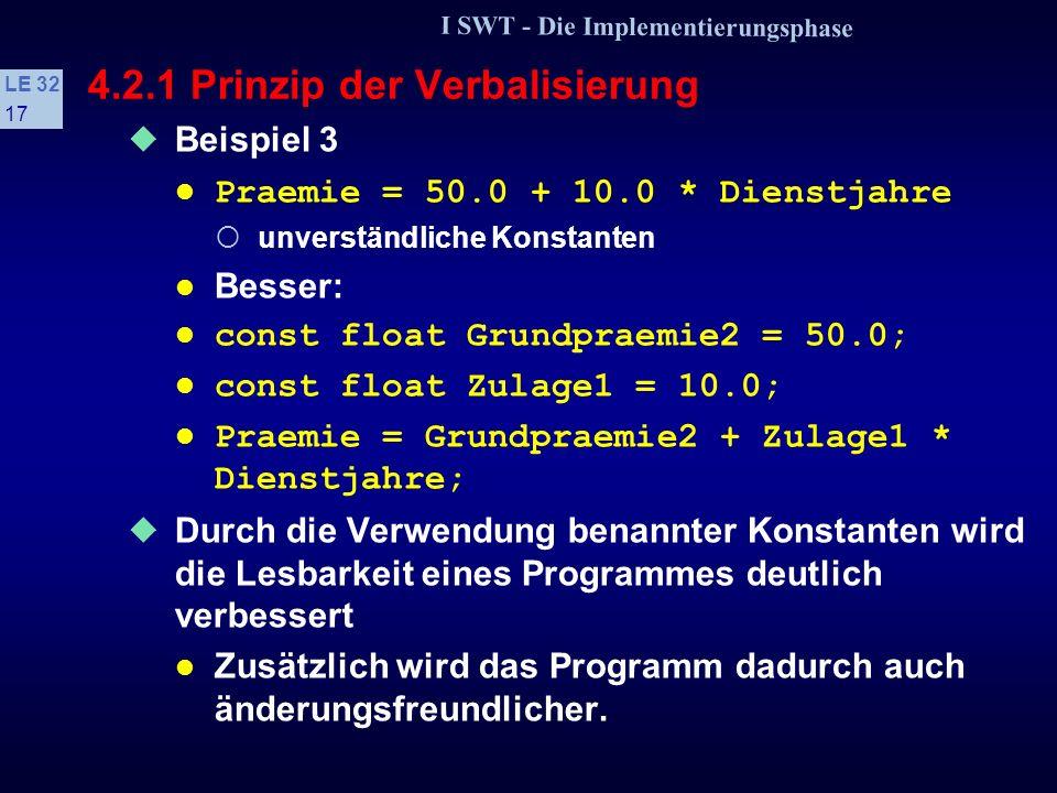 I SWT - Die Implementierungsphase LE 32 16 4.2.1 Prinzip der Verbalisierung Beispiel 1 Feld1, Feld2, Zaehler problemfreie, technische Bezeichner Besser: Messreihe1, Messreihe2, Anzahlzeichen problembezogene Bezeichner Beispiel 2 P = G2 + Z1 * D Bezeichner ohne Aussagekraft, zu kurz Besser: Praemie = Grundpraemie2 + Zulage1 * Dienstjahre;.