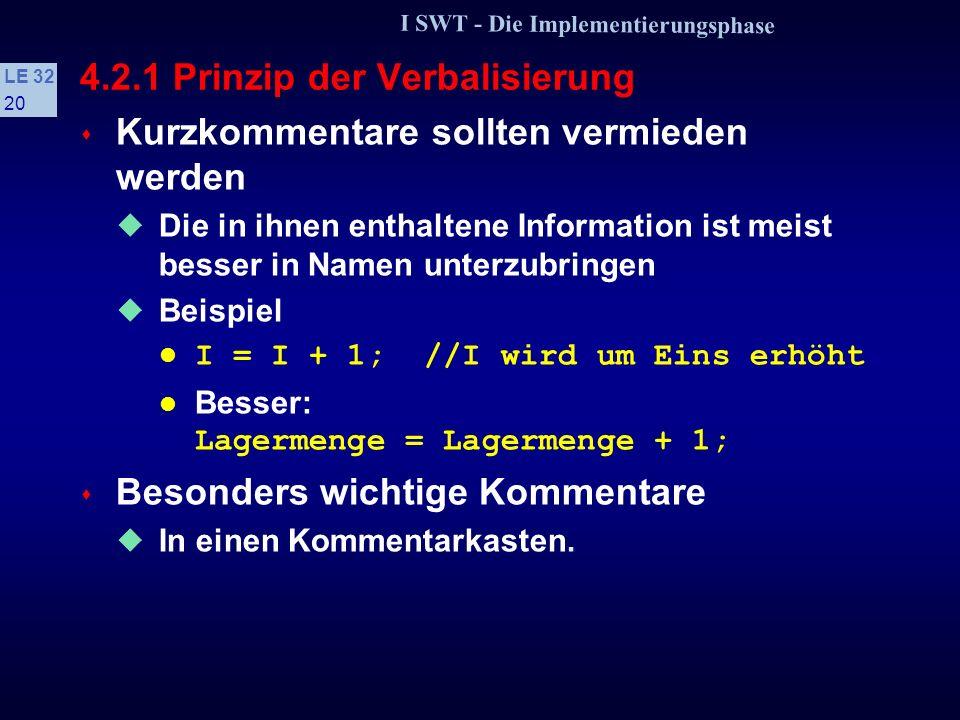 I SWT - Die Implementierungsphase LE 32 19 4.2.1 Prinzip der Verbalisierung s Verbalisierung wird durch geeignete Kommentare unterstützt Als vorteilhaft hat sich erwiesen, den else-Teil einer Auswahl zu kommentieren Als Kommentar wird angegeben, welche Bedingungen im else-Teil gelten Beispiel if (A < 5) {...} else //A >= 5 {...}.