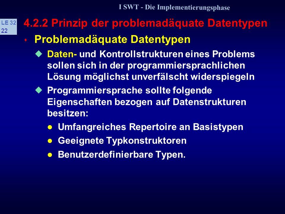 I SWT - Die Implementierungsphase LE 32 21 4.2.1 Prinzip der Verbalisierung s Grad der Kommentierung Abhängig davon, ob Programmiersprache selbstdokum