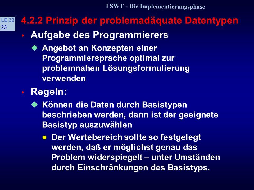 I SWT - Die Implementierungsphase LE 32 22 4.2.2 Prinzip der problemadäquate Datentypen s Problemadäquate Datentypen Daten- und Kontrollstrukturen ein