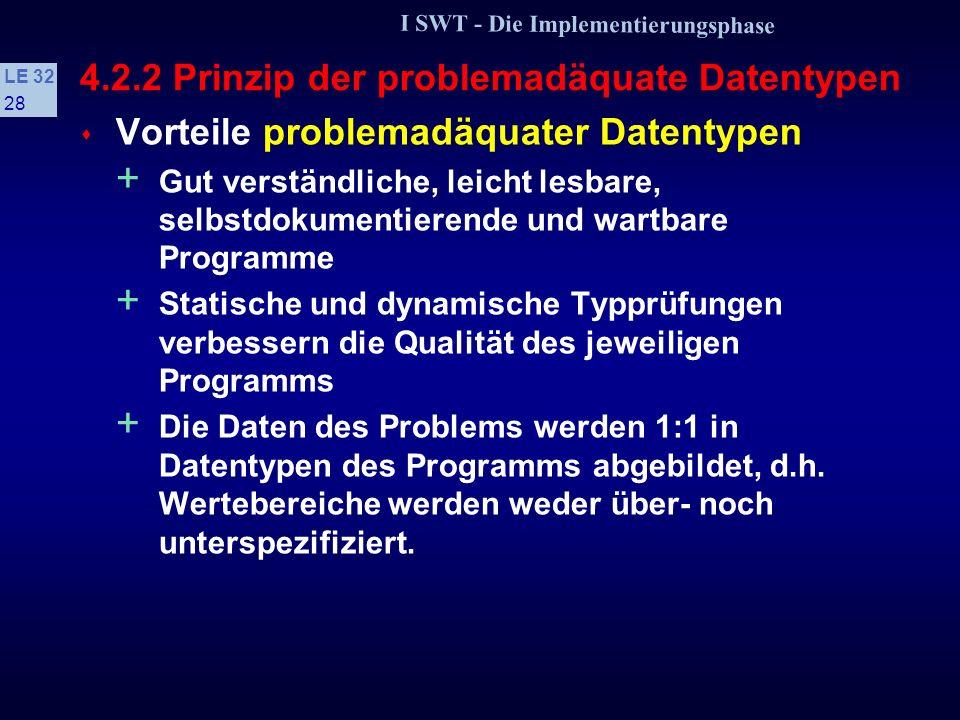 I SWT - Die Implementierungsphase LE 32 27 4.2.2 Prinzip der problemadäquate Datentypen Typkonstruktor Verbund: Beispiele Der Datentyp eines Adreßverwaltungsprogramms sieht problemadäquat folgendermaßen aus: struct AdresseT const char * Strasse; int PLZ; const char * Wohnort; Es sollen komplexe Zahlen verarbeitet werden; der geeignete Datentyp ist: struct ComplexT { float Re, Im; };.