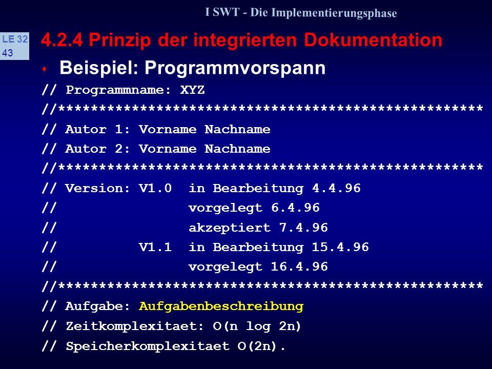 I SWT - Die Implementierungsphase LE 32 42 4.2.4 Prinzip der integrierten Dokumentation vorgelegt Das Programm ist aus Implementierersicht fertig und