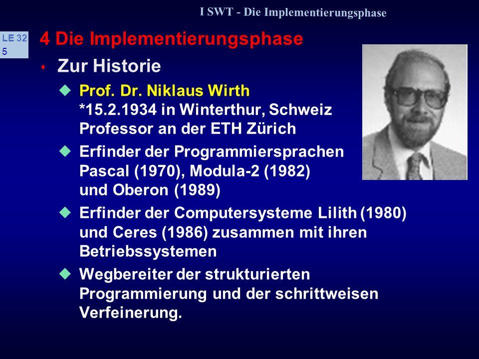 I SWT - Die Implementierungsphase LE 32 95 Regelkatalog zur Vermeidung von Fehlern (1) s Grundsätze des Programmentwurfs Auf Lesbarkeit achten Bedeutung der Prinzipien Verbalisierung, problemadäquate Datentypen, integrierte Dokumentation.