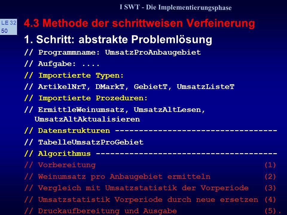 I SWT - Die Implementierungsphase LE 32 49 4.3 Methode der schrittweisen Verfeinerung 1. Schritt: abstrakte Problemlösung Es werden problemspezifische
