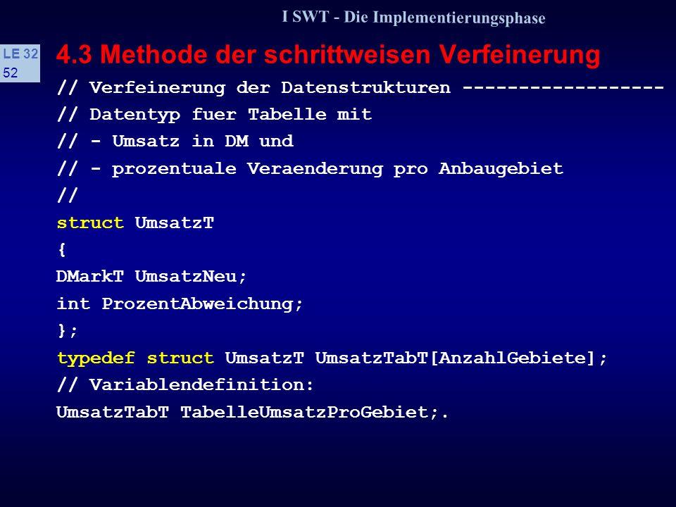 I SWT - Die Implementierungsphase LE 32 51 4.3 Methode der schrittweisen Verfeinerung 2. Schritt: Verfeinerung der abstrakten Problemlösung Typen, Dat