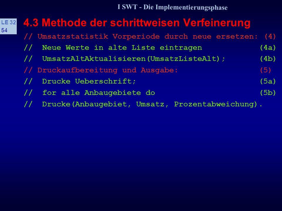 I SWT - Die Implementierungsphase LE 32 53 4.3 Methode der schrittweisen Verfeinerung // Verfeinerung der abstrakten Anweisungen------------ // Vorber