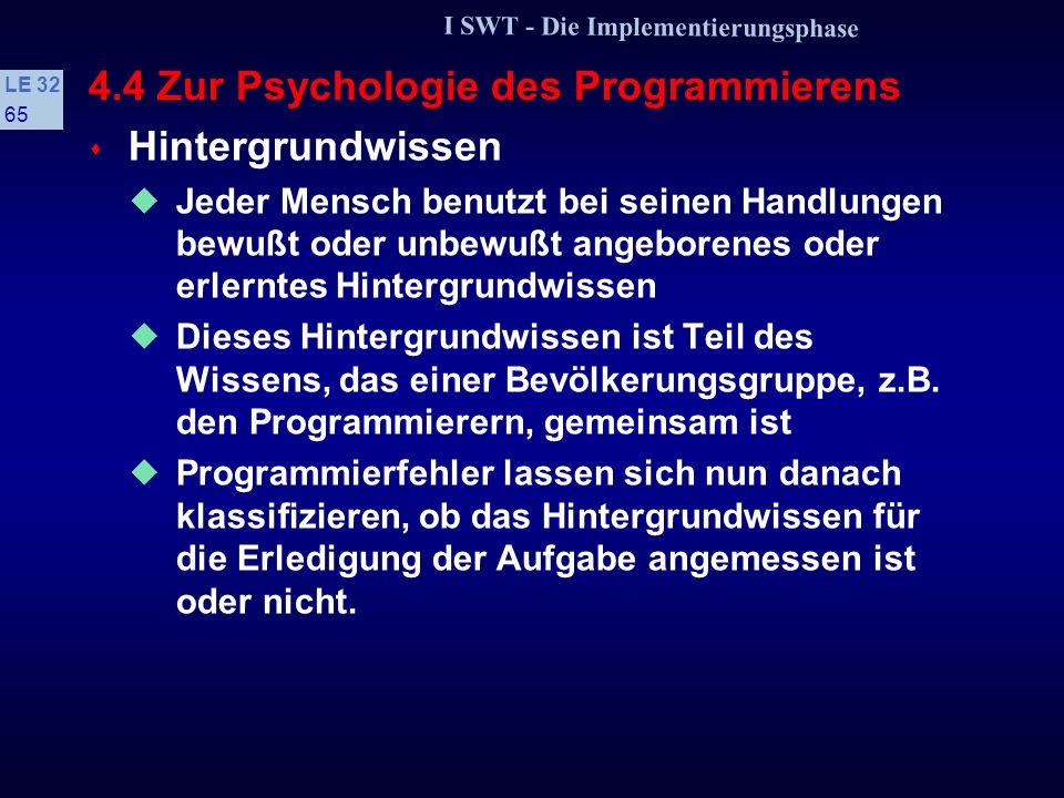 I SWT - Die Implementierungsphase LE 32 64 4.4 Zur Psychologie des Programmierens s Jeder Programmierer macht Fehler! Viele dieser Fehler sind auf Eig