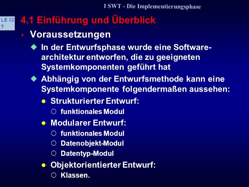 I SWT - Die Implementierungsphase LE 32 67 4.4 Zur Psychologie des Programmierens s »Schnitzer« sind Tippfehler, Versprecher usw.