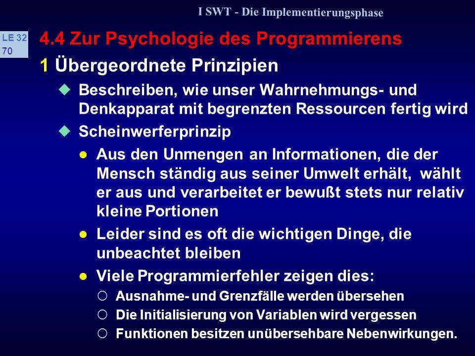 I SWT - Die Implementierungsphase LE 32 69 4.4 Zur Psychologie des Programmierens s Prinzipien des Verhaltens- und Denkmodells 1 Übergeordnete Prinzip