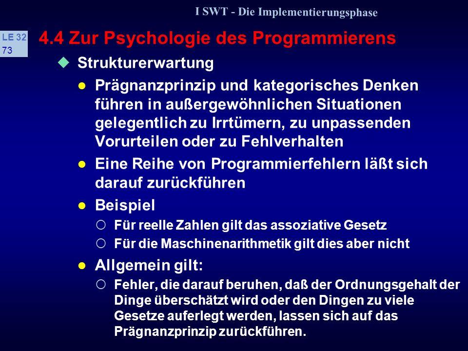 I SWT - Die Implementierungsphase LE 32 72 4.4 Zur Psychologie des Programmierens 2 Die »angeborenen Lehrmeister« Stellen höheres Wissen dar, das den