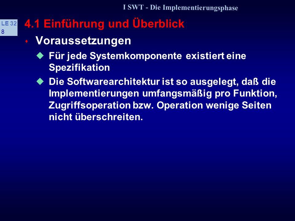 I SWT - Die Implementierungsphase LE 32 58 4.3 Methode der schrittweisen Verfeinerung 3.