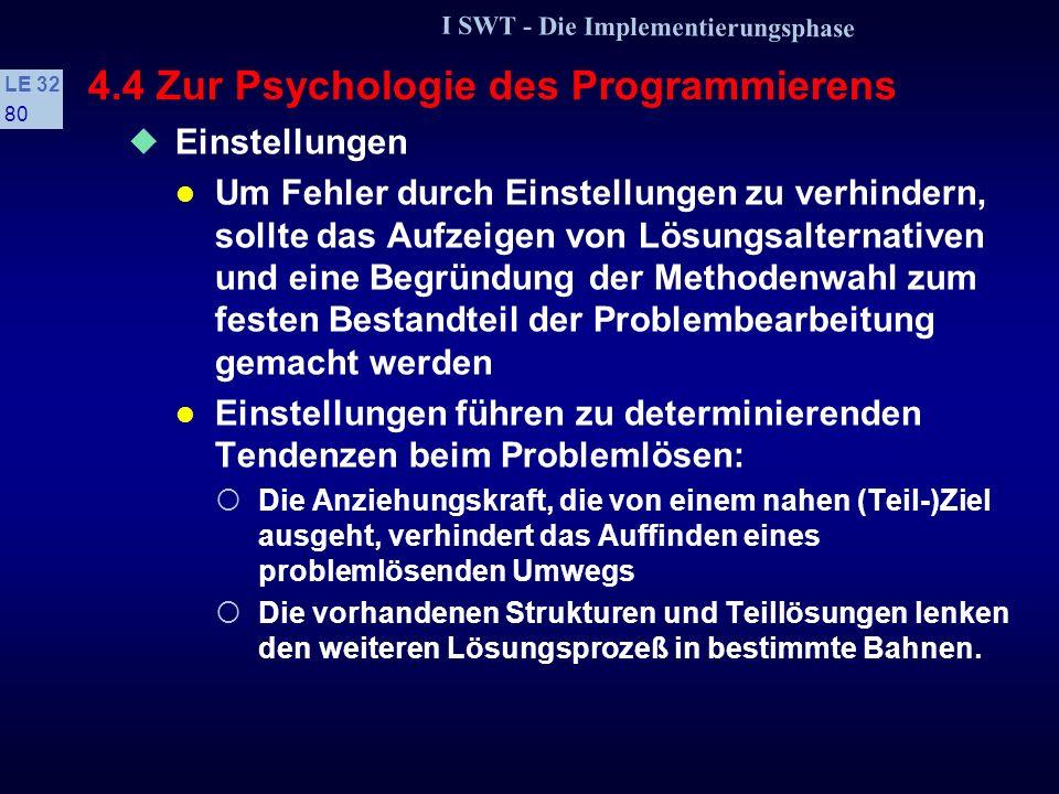 I SWT - Die Implementierungsphase LE 32 79 4.4 Zur Psychologie des Programmierens Einstellungen Einstellungen führen zu einer vorgeprägten Ausrichtung des Denkens Sie können zurückgehen auf...