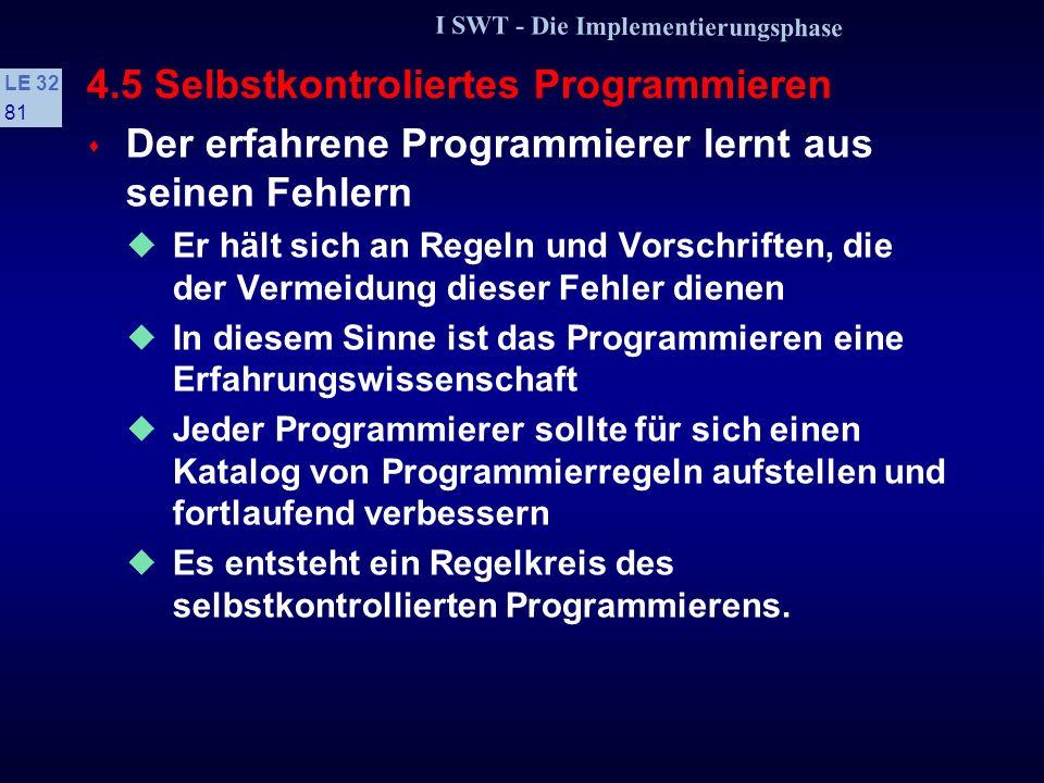 I SWT - Die Implementierungsphase LE 32 80 4.4 Zur Psychologie des Programmierens Einstellungen Um Fehler durch Einstellungen zu verhindern, sollte da