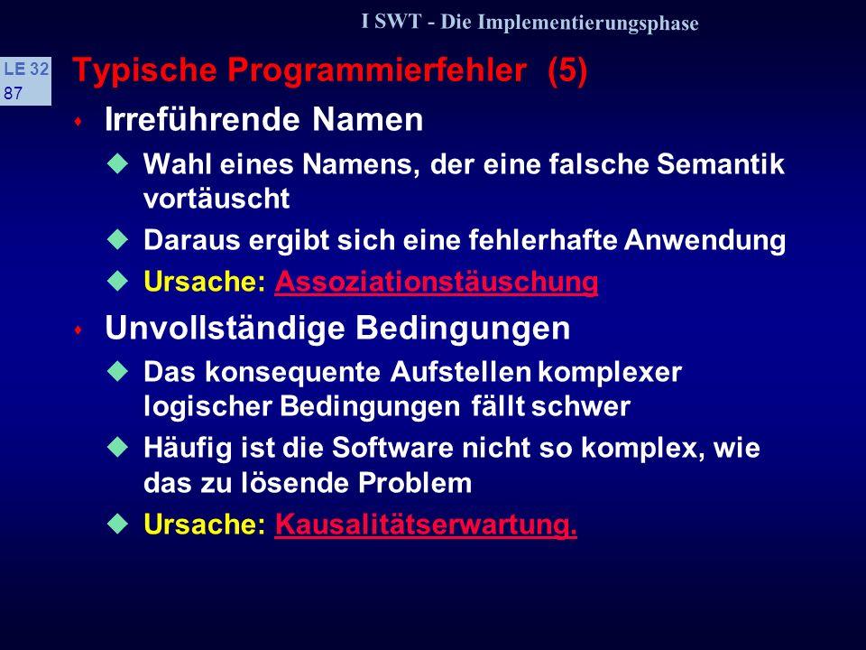 I SWT - Die Implementierungsphase LE 32 86 Typische Programmierfehler (4) s Tücken der Maschinenarithmetik Sonderfall der falschen Hypothesen Der Comp