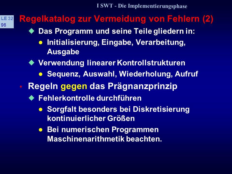 I SWT - Die Implementierungsphase LE 32 95 Regelkatalog zur Vermeidung von Fehlern (1) s Grundsätze des Programmentwurfs Auf Lesbarkeit achten Bedeutu