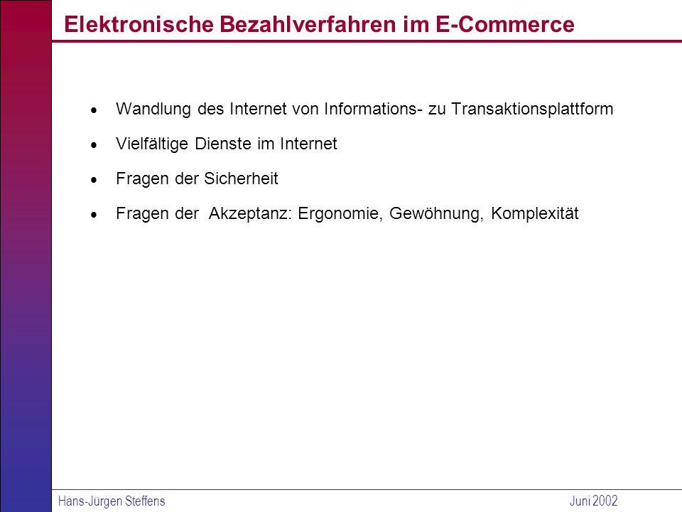 Hans-Jürgen SteffensJuni 2002 Virtuelles Geld (1/2) eCash Prinzip Zertifizierung (anonymer) elektronischer Münzen (RSA) Bemerkung sehr innovatives Verfahren, hat sich am Markt aber nicht durchgesetzt.