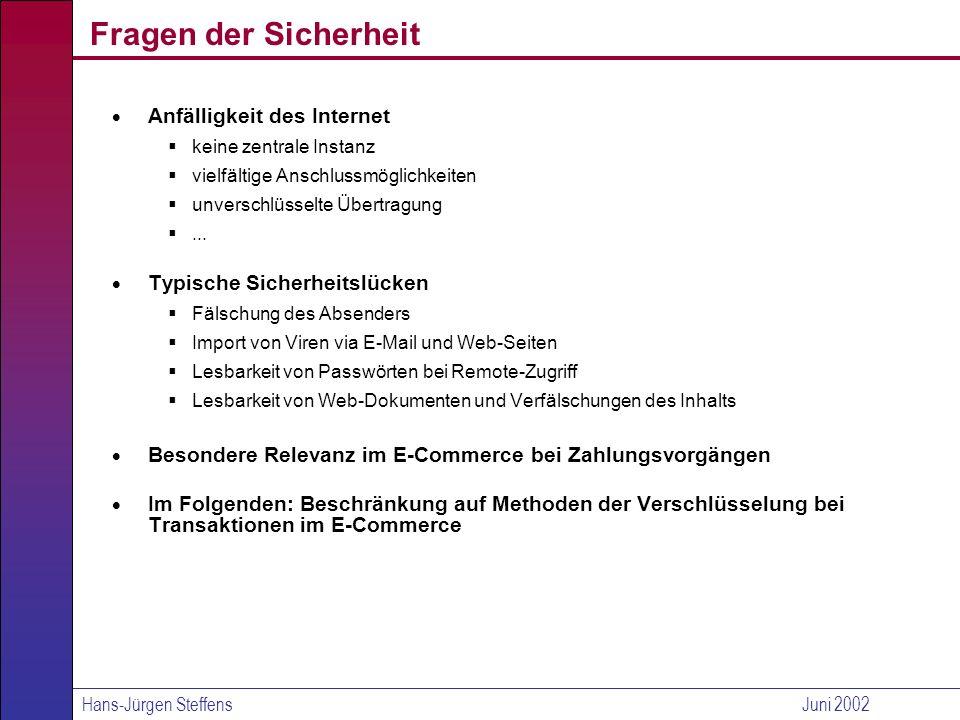 Hans-Jürgen SteffensJuni 2002 Virtuelles Geld (2/2) Paysafecard (Prepaid-Karte) Prinzip Benutzung eines schon beim mobilen Telefonieren erprobten Systems Merkmale Der Käufer rubbelt hier eine 16-stellige PIN frei und kombiniert diese beim Einkauf mit einem Passwort.