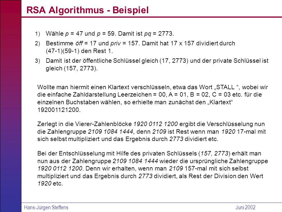 Hans-Jürgen SteffensJuni 2002 Einsatz des RSA-Verfahrens im E-Commerce 1) Der Empfänger kann die Identität des Senders verifizieren (elektronische Unterschrift zur Authentisierung).