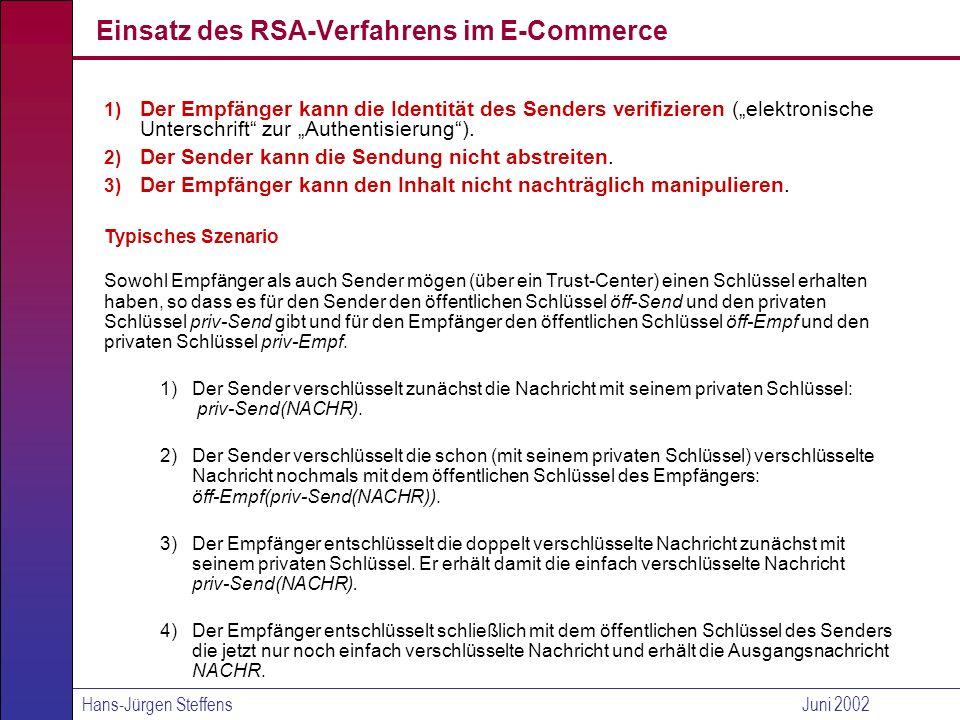 Hans-Jürgen SteffensJuni 2002 Erreichung der Ziele An Hand von priv-Send(NACHR) kann der Empfänger sehen, dass die Nachricht nur von dem Sender stammen kann.