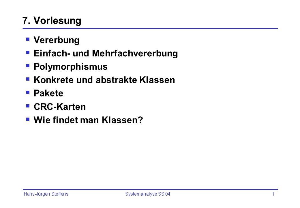 Hans-Jürgen Steffens Systemanalyse SS 0412 Konkrete und abstrakte Klassen Von konkreten Klassen kann es Objekte geben Von abstrakten Klassen selbst kann es keine Objekte geben, nur von ihren Unterklassen.