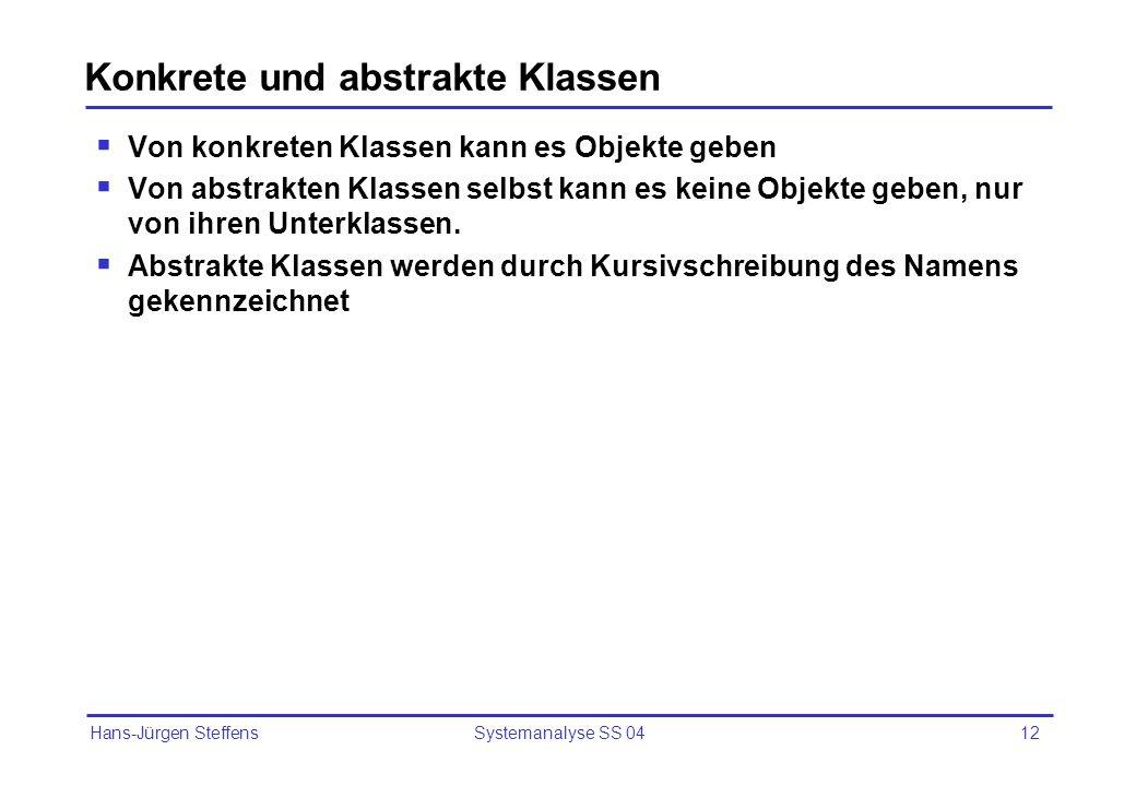 Hans-Jürgen Steffens Systemanalyse SS 0412 Konkrete und abstrakte Klassen Von konkreten Klassen kann es Objekte geben Von abstrakten Klassen selbst ka