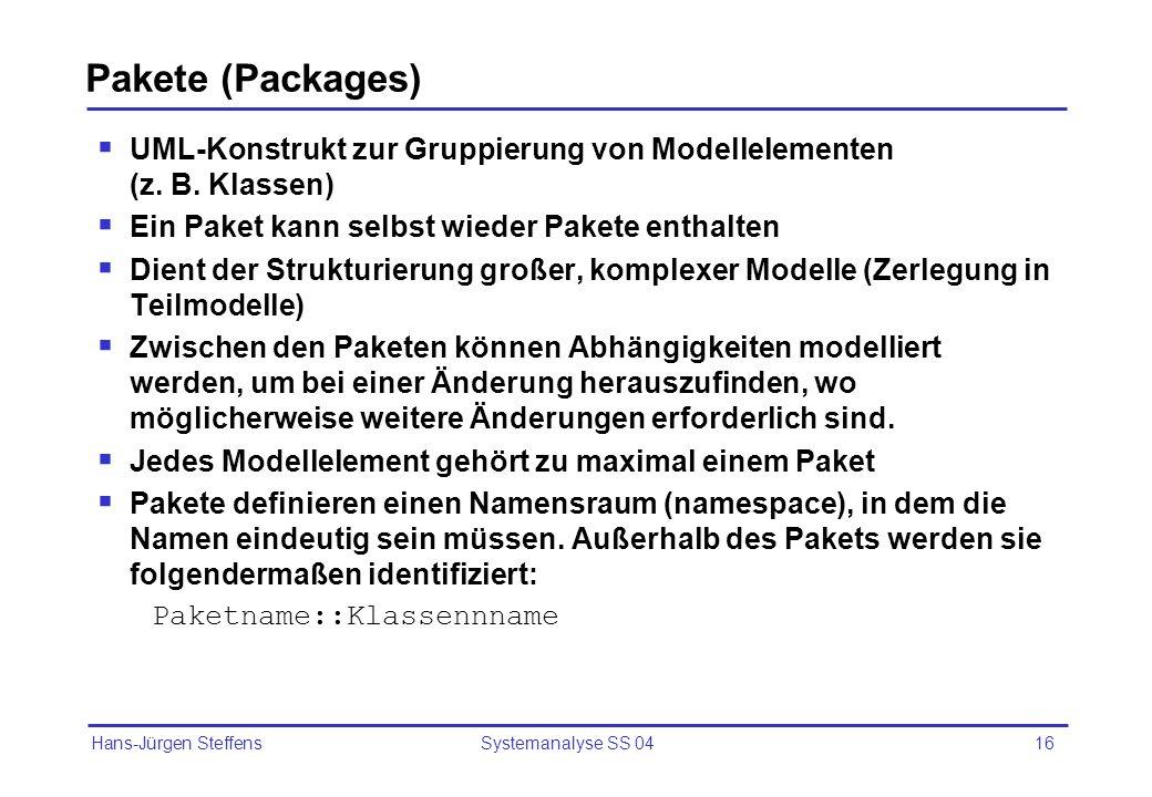 Hans-Jürgen Steffens Systemanalyse SS 0416 Pakete (Packages) UML-Konstrukt zur Gruppierung von Modellelementen (z. B. Klassen) Ein Paket kann selbst w