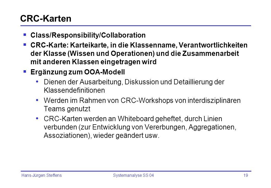 Hans-Jürgen Steffens Systemanalyse SS 0419 CRC-Karten Class/Responsibility/Collaboration CRC-Karte: Karteikarte, in die Klassenname, Verantwortlichkei