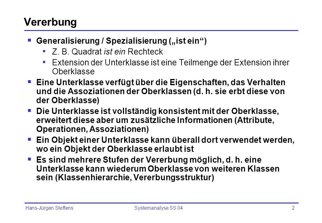 Hans-Jürgen Steffens Systemanalyse SS 042 Vererbung Generalisierung / Spezialisierung (ist ein) Z. B. Quadrat ist ein Rechteck Extension der Unterklas
