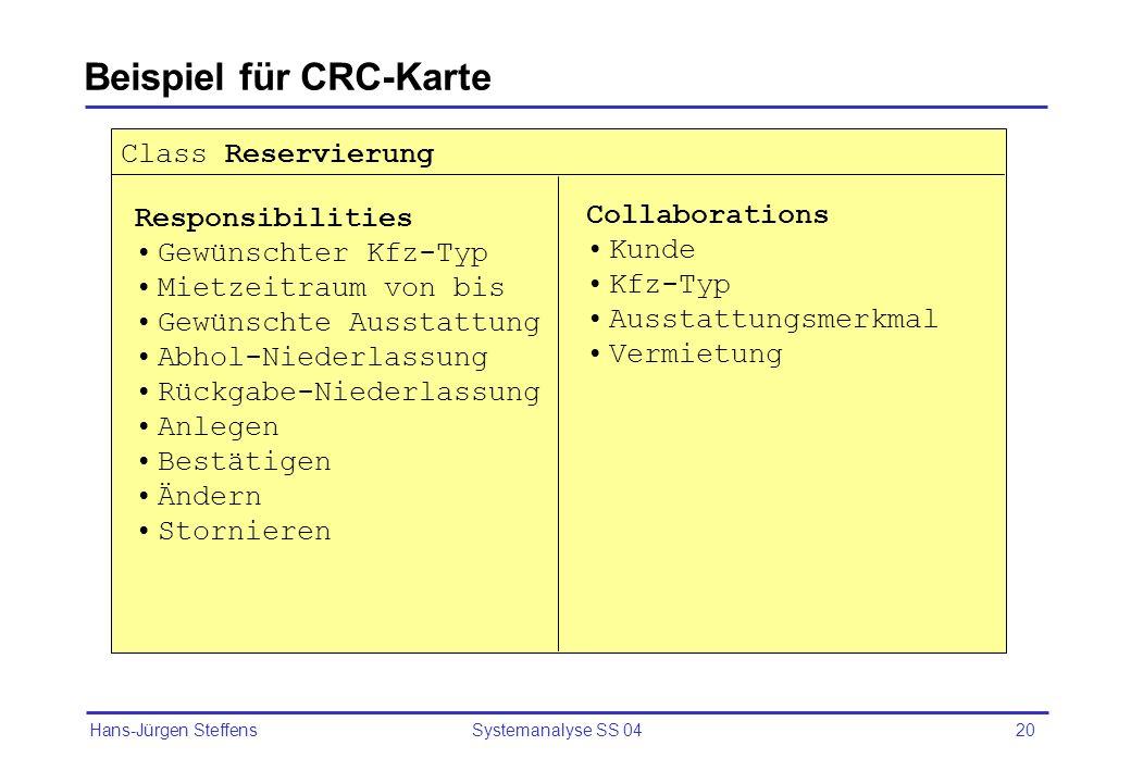 Hans-Jürgen Steffens Systemanalyse SS 0420 Beispiel für CRC-Karte Class Reservierung Responsibilities Gewünschter Kfz-Typ Mietzeitraum von bis Gewünsc