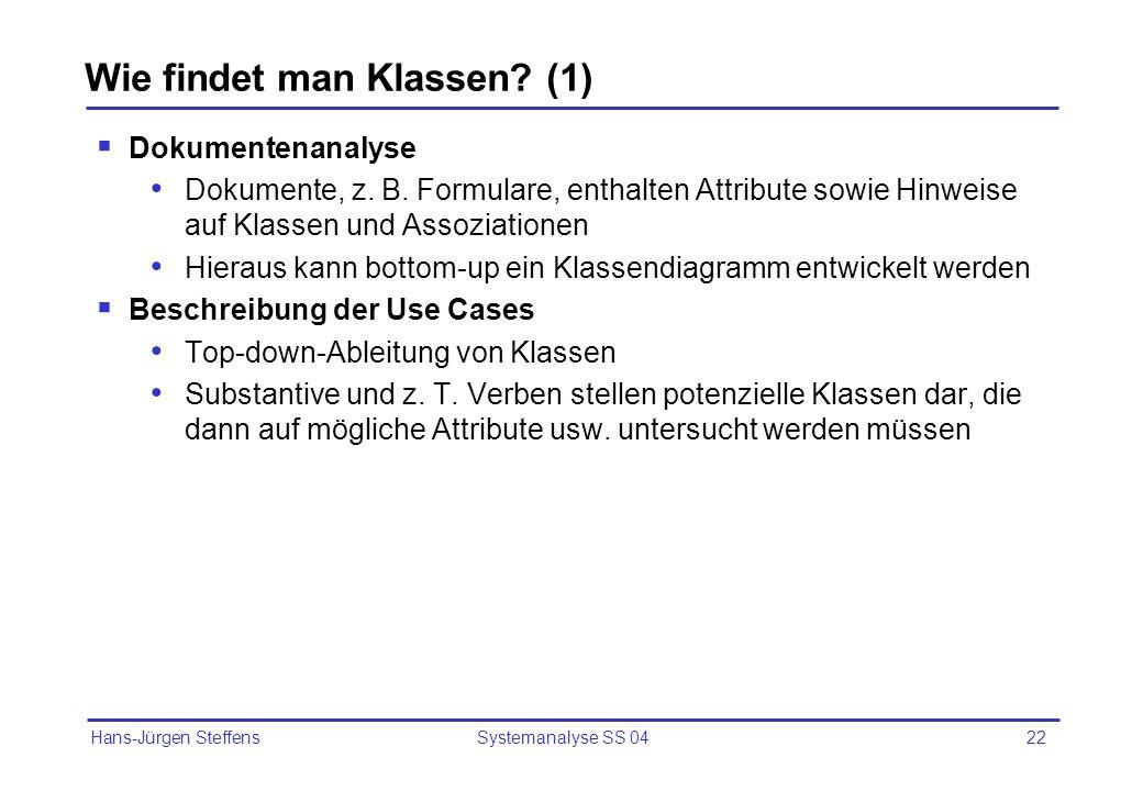 Hans-Jürgen Steffens Systemanalyse SS 0422 Wie findet man Klassen? (1) Dokumentenanalyse Dokumente, z. B. Formulare, enthalten Attribute sowie Hinweis