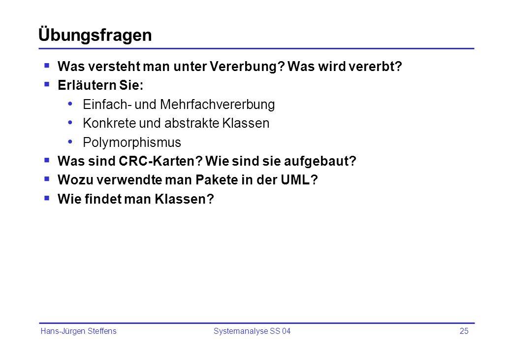 Hans-Jürgen Steffens Systemanalyse SS 0425 Übungsfragen Was versteht man unter Vererbung? Was wird vererbt? Erläutern Sie: Einfach- und Mehrfachvererb
