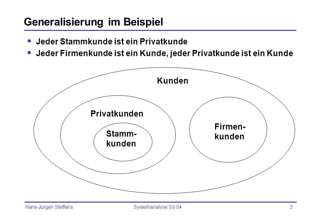 Hans-Jürgen Steffens Systemanalyse SS 045 Generalisierung im Beispiel Jeder Stammkunde ist ein Privatkunde Jeder Firmenkunde ist ein Kunde, jeder Priv