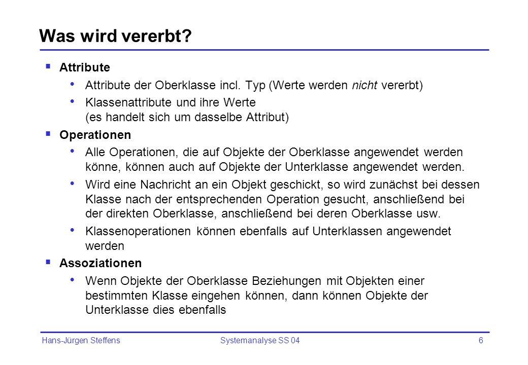 Hans-Jürgen Steffens Systemanalyse SS 046 Was wird vererbt? Attribute Attribute der Oberklasse incl. Typ (Werte werden nicht vererbt) Klassenattribute