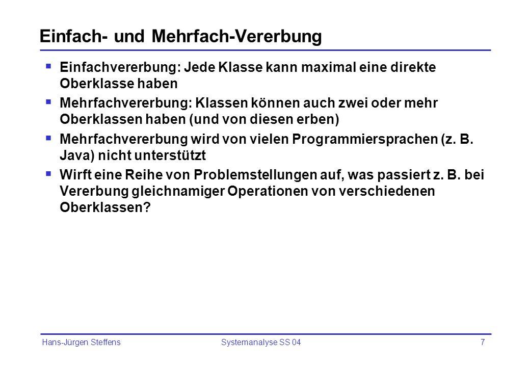 Hans-Jürgen Steffens Systemanalyse SS 047 Einfach- und Mehrfach-Vererbung Einfachvererbung: Jede Klasse kann maximal eine direkte Oberklasse haben Meh