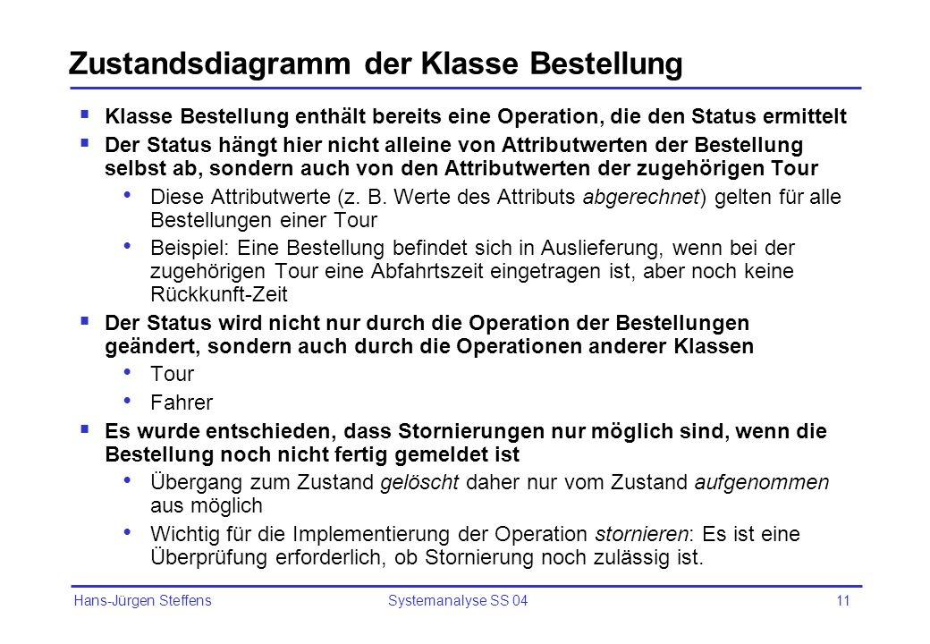 Hans-Jürgen Steffens Systemanalyse SS 0411 Zustandsdiagramm der Klasse Bestellung Klasse Bestellung enthält bereits eine Operation, die den Status erm