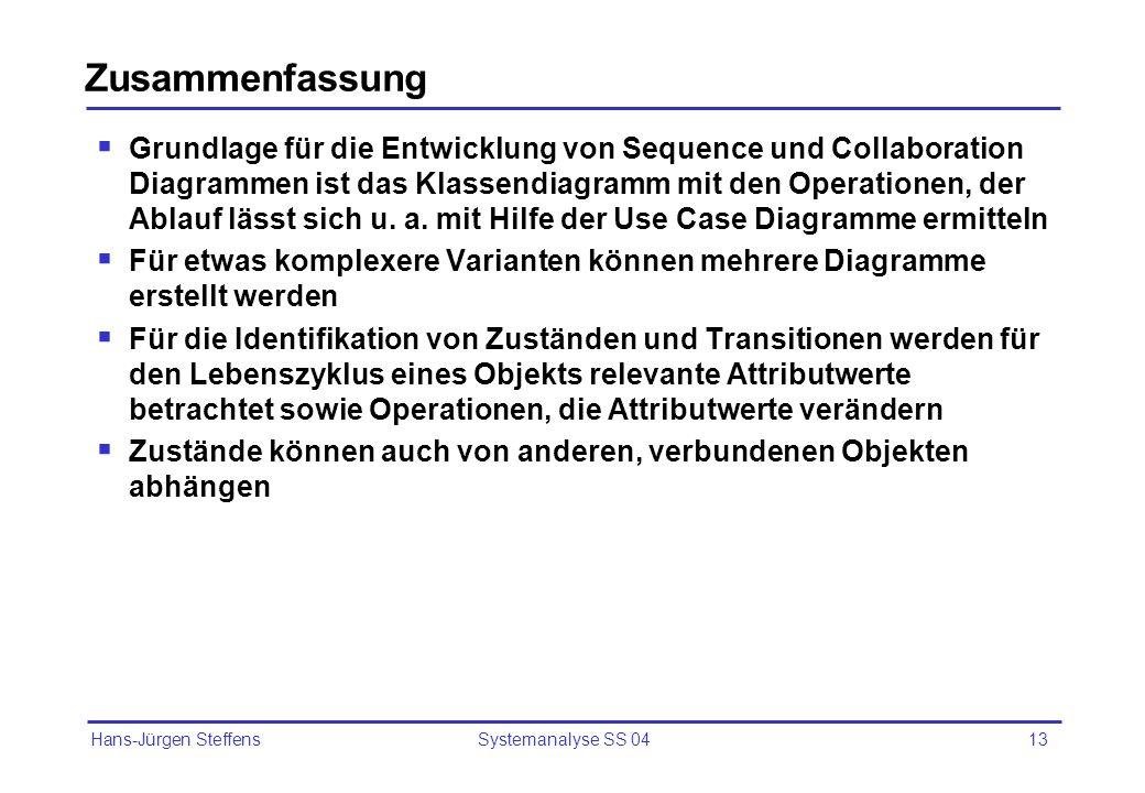 Hans-Jürgen Steffens Systemanalyse SS 0413 Zusammenfassung Grundlage für die Entwicklung von Sequence und Collaboration Diagrammen ist das Klassendiag