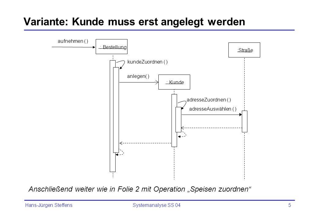 Hans-Jürgen Steffens Systemanalyse SS 045 Variante: Kunde muss erst angelegt werden : Bestellung aufnehmen ( ) anlegen( ) kundeZuordnen ( ) : Kunde :S