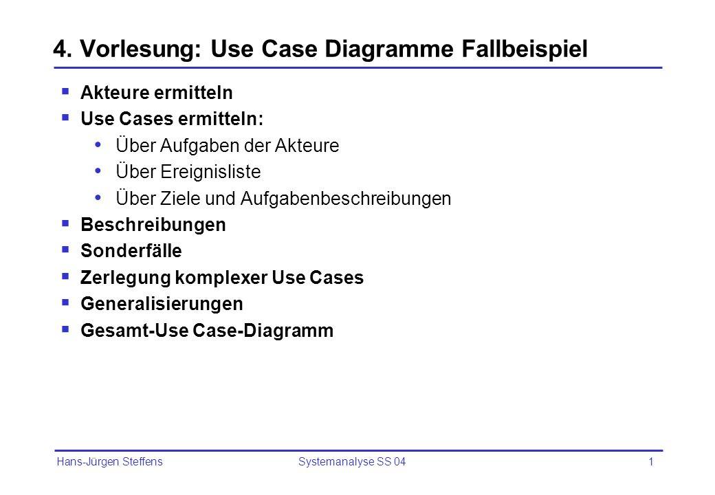 Hans-Jürgen Steffens Systemanalyse SS 041 4. Vorlesung: Use Case Diagramme Fallbeispiel Akteure ermitteln Use Cases ermitteln: Über Aufgaben der Akteu