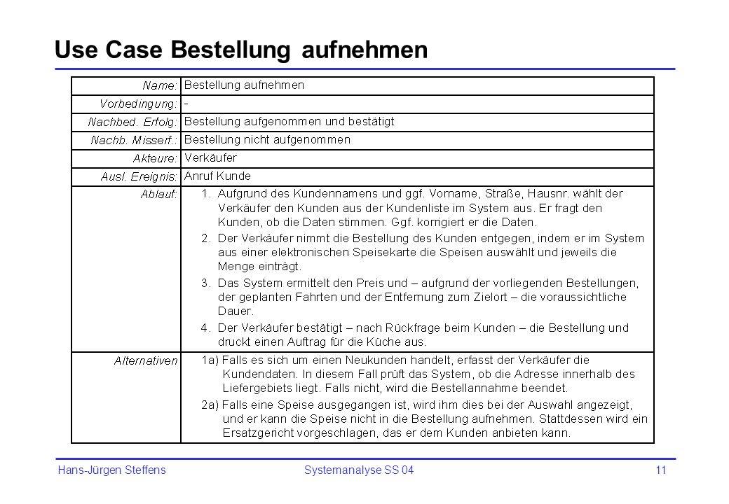 Hans-Jürgen Steffens Systemanalyse SS 0411 Use Case Bestellung aufnehmen