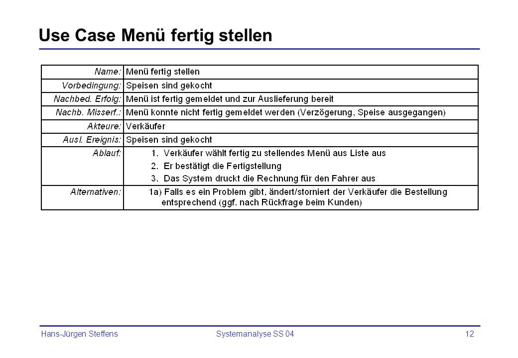Hans-Jürgen Steffens Systemanalyse SS 0412 Use Case Menü fertig stellen