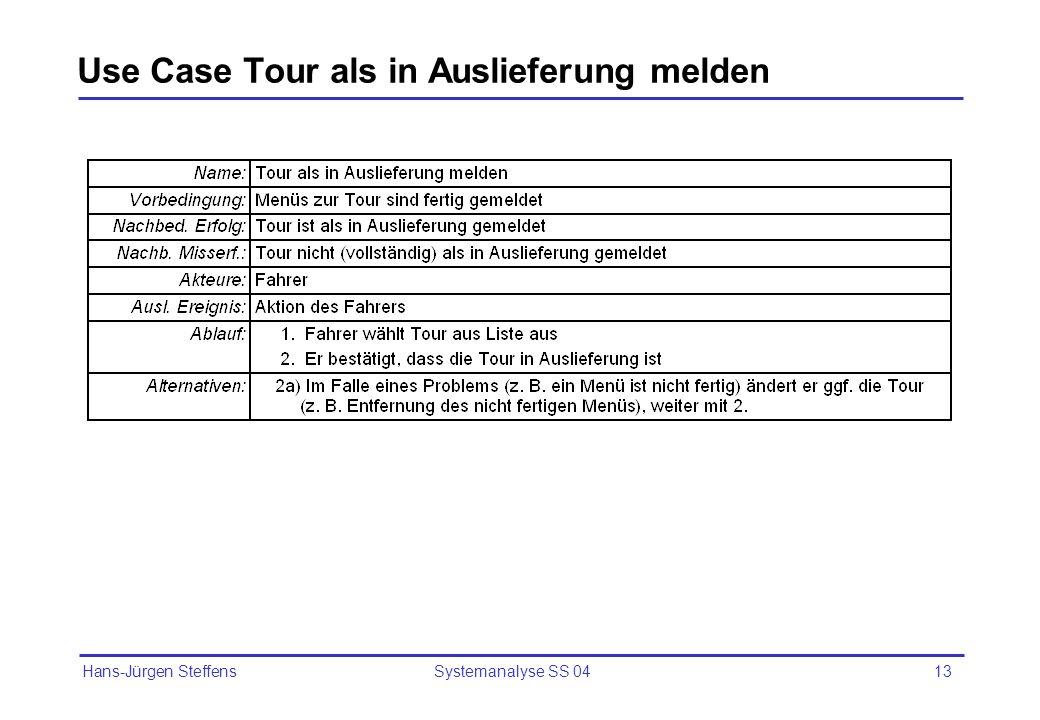 Hans-Jürgen Steffens Systemanalyse SS 0413 Use Case Tour als in Auslieferung melden