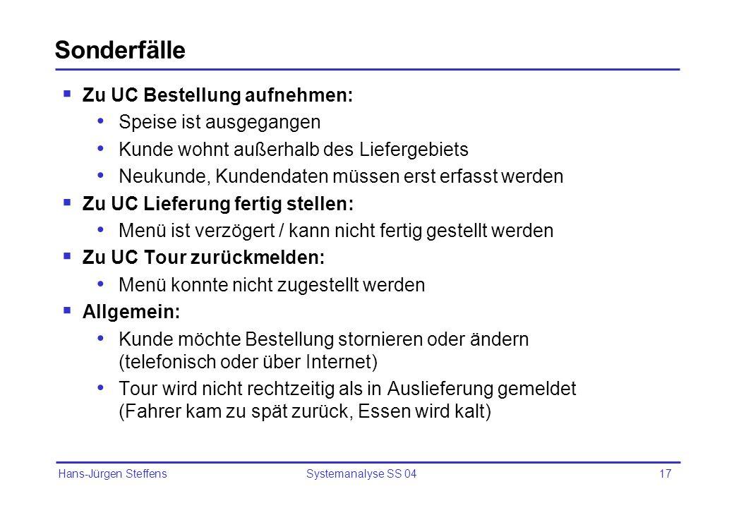 Hans-Jürgen Steffens Systemanalyse SS 0417 Sonderfälle Zu UC Bestellung aufnehmen: Speise ist ausgegangen Kunde wohnt außerhalb des Liefergebiets Neuk